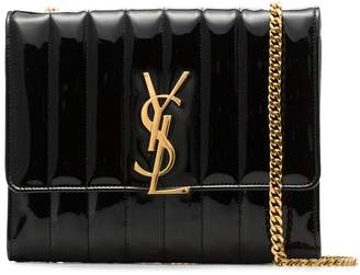 Saint Laurent black Vicky quilted patent leather cross body bag
