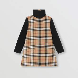Burberry Childrens Vintage Check Wool Funnel Neck Dress