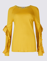 Per Una Satin Round Neck Ruffle Sleeve T-Shirt