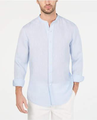 Tasso Elba Men Banded Collar Linen Shirt