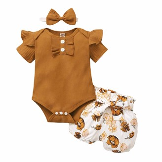 Zerototens Kids Clothes Set Zerototens Kids Baby Girls 3Pcs Summer Clothes Set 3-18 Months Toddler Newborn Short Sleeve Ruffle Romper Tops Elastic Waist Floral Printed Shorts Bowknot Headbands Infant Suits Outfits Brown