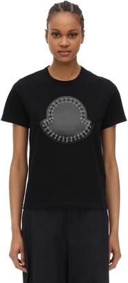 MONCLER GENIUS Noir Embellished Cotton Jersey T-shirt