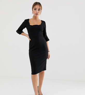 ASOS DESIGN Petite scallop neck pencil dress