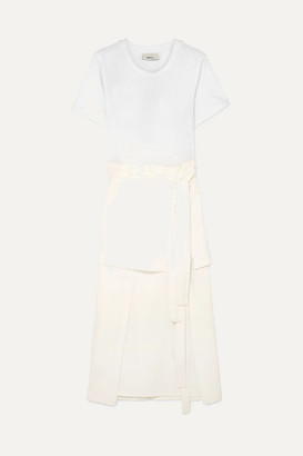 3.1 Phillip Lim Tie-detailed Stretch-jersey And Poplin Midi Dress - White