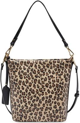 Sole Society Women's Beryl Bucket Bag Black Leopard Combo Vegan Leather From