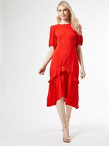 Dorothy Perkins Satin Jacquard Ruffle Midi Dress Red