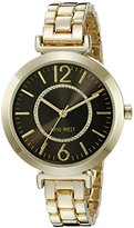 Nine West Women's NW/1768BKGB Glitter-Accented Gold-Tone Bracelet Watch