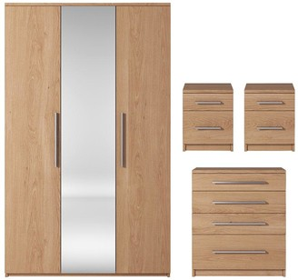Prague 4-Piece Package - 3 Door Mirrored Wardrobe, 4 Drawer Chest and 2 Bedside Cabinets