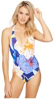 Echo Floral Low V-Back One-Piece Swimsuit Women's Swimsuits One Piece