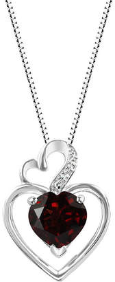 Fine Jewelry Genuine Garnet Sterling Silver Double Heart Pendant Necklace