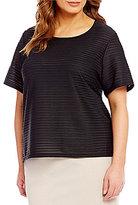 Calvin Klein Plus Knit Textured Short Sleeve Top