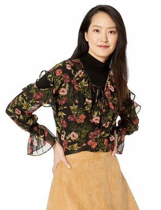 Kensie Women's Winter Poppies Ruffle Accent Top with Sleeve Cutout