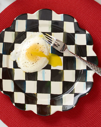 Mackenzie Childs MacKenzie-Childs Courtly Check Enamel Petal Dinner Plate