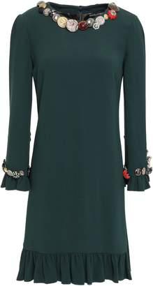 Dolce & Gabbana Button-embellished Ruffle-trimmed Crepe Mini Dress