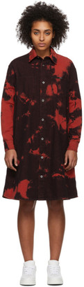 McQ Red Swallow Tatsuko Tie-Dye Shirt Dress