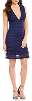 Chelsea & Violet V-Neck Sleeveless Tiered Lace Sheath Dress