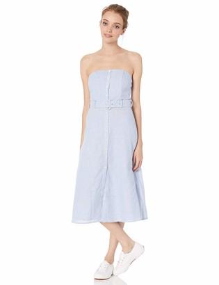 BB Dakota Junior's Never Belt Better Pinstriped Cotton Linen Strapless Dress