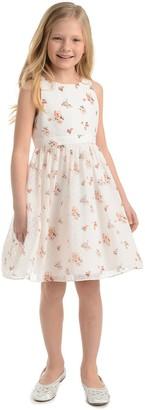 Badgley Mischka Dot & Floral Print Dress
