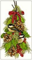 "Mary Lake-Thompson Ltd. Chickadee Hanging Christmas Holly 100% Cotton Flour Sack Dish Tea Towel - Mary Lake Thompson 30"" x 30"""
