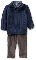 Class Club Little Boys 2T-7 Cable Sweater, Button-Down Shirt, & Pants 3-Piece Set