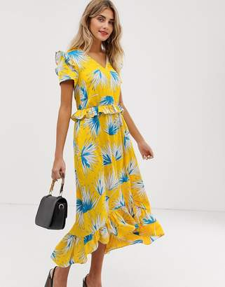 Liquorish midaxi dress with ruffle detail in yellow print
