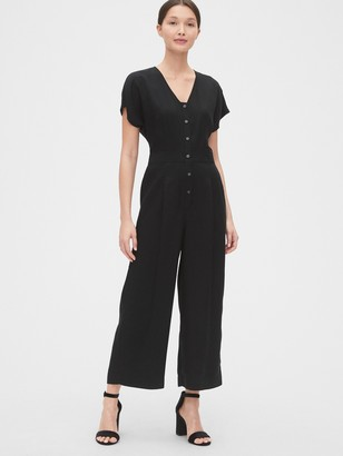 Gap Pleated Button-Front Jumpsuit in TENCEL
