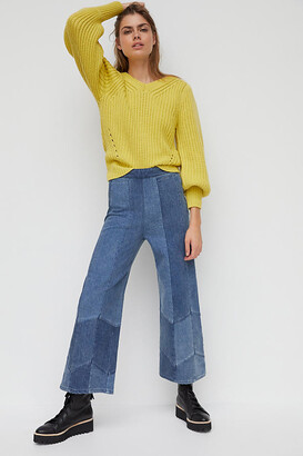 Pilcro And The Letterpress Pilcro Patchwork Ultra High-Rise Wide-Leg Jeans By in Blue Size 25