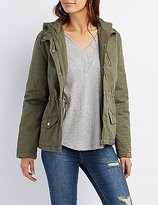 Charlotte Russe Quilted-Trim Hooded Anorak Jacket