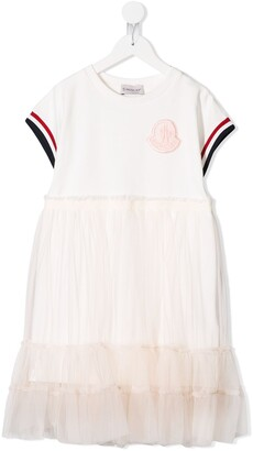 Moncler Enfant Short-Sleeve Frilled Dress