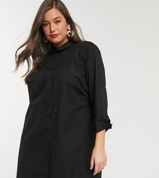 Asos DESIGN Curve cotton mini shirt dress in black