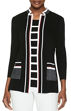Misook Striped-Trim Knit Jacket