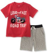 Kids Headquarters Two-Piece Graphic-Print Tee and Textured Shorts Set