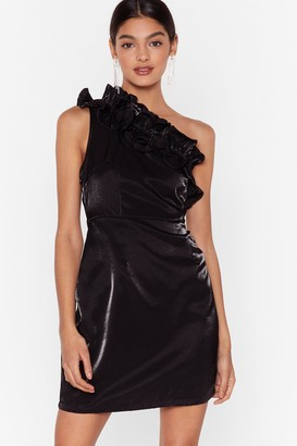 Nasty Gal Womens One On One Shoulder Ruffle Mini Dress - Black