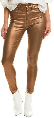 Seven For All Mankind 7 For All Mankind Penny Metallic High-Waist Ankle Skinny Leg Jean