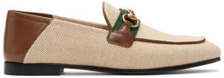 Gucci Beige Horsebit Web Loafers
