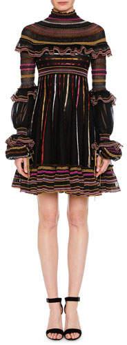 Alexander McQueen Turtleneck Long-Sleeve Metallic-Striped Fit-and-Flare Dress