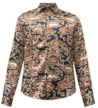 Edward Crutchley Cloud-print Silk-satin Shirt - Black Multi
