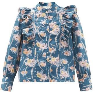 LoveShackFancy Beatrix Ruffled Floral-print Cotton Blouse - Blue Print