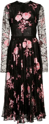 Giambattista Valli Floral Embroidered Pleated Skirt Dress