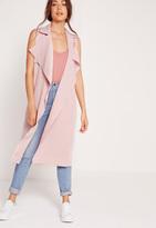 Missguided Crepe Sleeveless Waterfall Jacket Pink