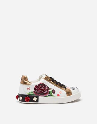 Dolce & Gabbana Portofino Sneakers In Printed Nappa Leather