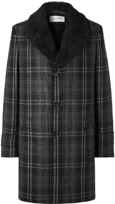 Saint Laurent Faux Shearling-Lined Checked Wool-Boucle Overcoat - Men - Gray