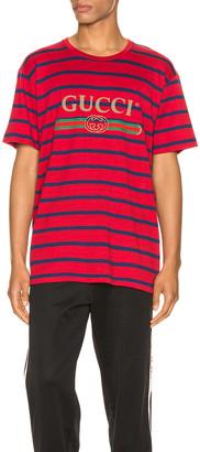 Gucci Logo Striped Tee in Red & Inchiostro & MC | FWRD