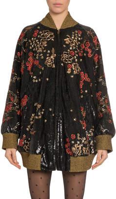 Saint Laurent Oversized Floral-Embroidered Bomber Jacket