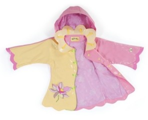 Kidorable Toddler Girl with Comfy Lotus Flowers Raincoat