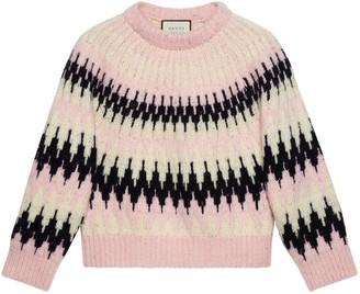 Gucci Zigzag jacquard wool crop sweater