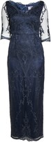 Thumbnail for your product : JS Collections Scallop V-Neck Embroidered Mesh Gown