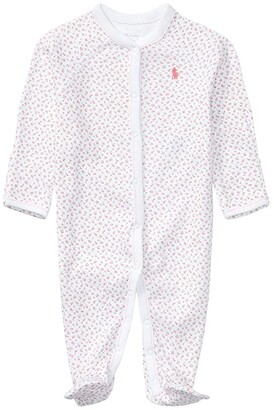 Polo Ralph Lauren Interlock Floral One-Piece Coveralls (Infant) (White Multi Floral/White) Girl's Overalls One Piece