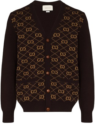 Gucci GG embroidered knitted cardigan