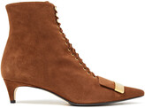 Thumbnail for your product : Sergio Rossi Embellished Lace-up Suede Ankle Boots